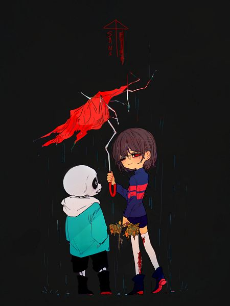 Tags: Anime, Pixiv Id 509978, Undertale, Sans, Frisk, Fanart From Pixiv, Pixiv, Wallpaper, Fanart