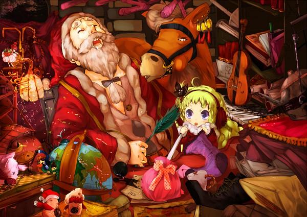 Tags: Anime, Uni (koricou), Santa Claus, Reindeer, Globe, Pixiv, Original