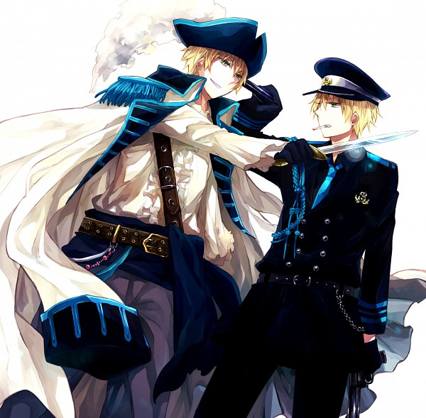 Tags: Anime, Uhyo, Axis Powers: Hetalia, United Kingdom, Police Hat, Badge, Aiming At Another, Mexican Standoff, Fanart, Fanart From Pixiv, Pixiv, Allied Forces