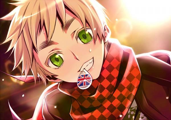 Tags: Anime, chocolate_lover, Axis Powers: Hetalia, United Kingdom, Flag Print, Guitar Pick, Checkered Neckwear, Punk, Lens Flare, Fanart, Fanart From Pixiv, Pixiv