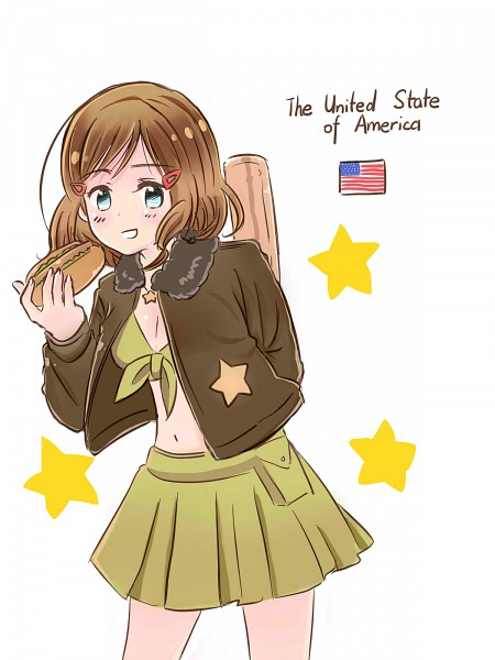 Tags: Anime, Huahua, Axis Powers: Hetalia, United States (Female), Bomber Jacket, Brown Jacket, Front-tie Top, Hot Dog, Nyotalia, Allied Forces