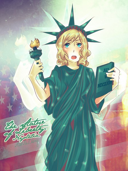 Tags: Anime, Axis Powers: Hetalia, United States (Female), Statue of Liberty, Flag Background, Head Up, Torch, Nyotalia, Artist Request