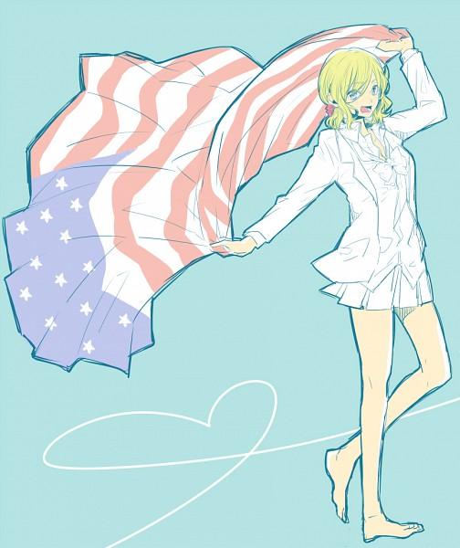 Tags: Anime, Sato Unta, Axis Powers: Hetalia, United States (Female), Holding Flag, Fanart, Nyotalia, Pixiv