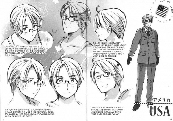 Tags: Anime, Himaruya Hidekaz, Axis Powers: Hetalia, United States, Official Art, Character Sheet, Scan, Allied Forces