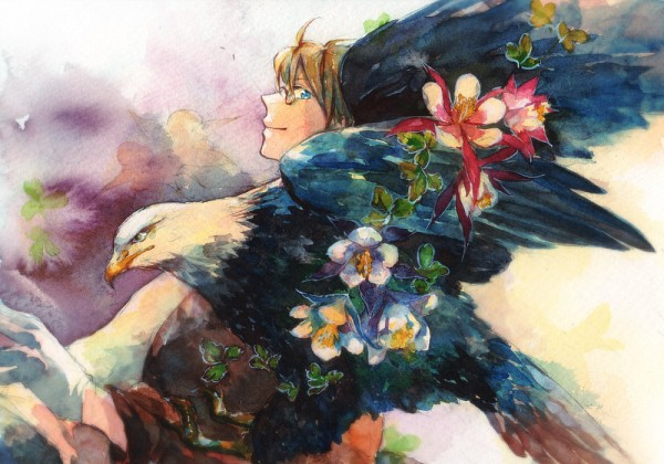 Tags: Anime, Pixiv Id 4365490, Axis Powers: Hetalia, United States, Eagle, Traditional Media, Pixiv, Watercolor, Allied Forces