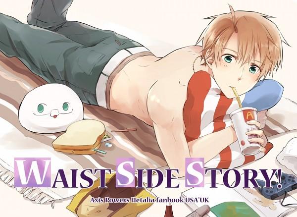 Tags: Anime, Megoppe, Axis Powers: Hetalia, Mochimerica, United States, McDonald's Meal, Playstation, Toast, Sandwich, Mochitalia, Fanart, Doujinshi Cover, Allied Forces