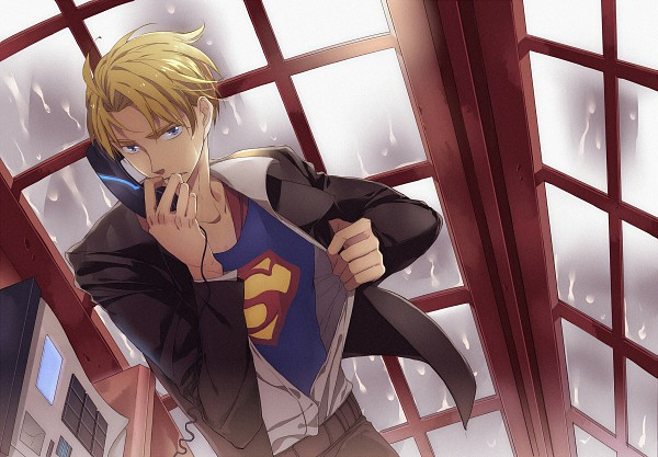 Tags: Anime, Mimosa, Axis Powers: Hetalia, Superman, United States, Superman (Cosplay), Phone Booth, Pixiv, DC Comics, Allied Forces