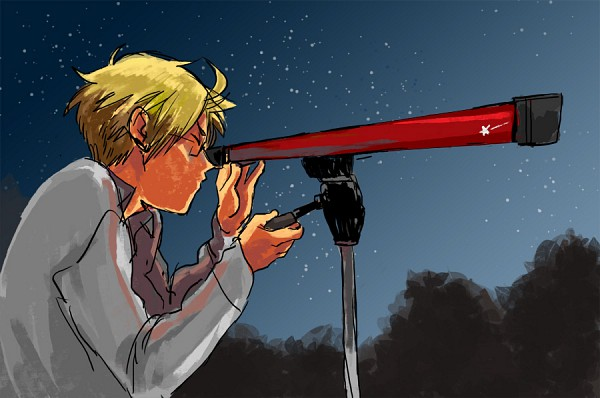 Tags: Anime, Annie (Pixiv176892), Axis Powers: Hetalia, United States, Telescope, Stargazing, Pixiv, Allied Forces