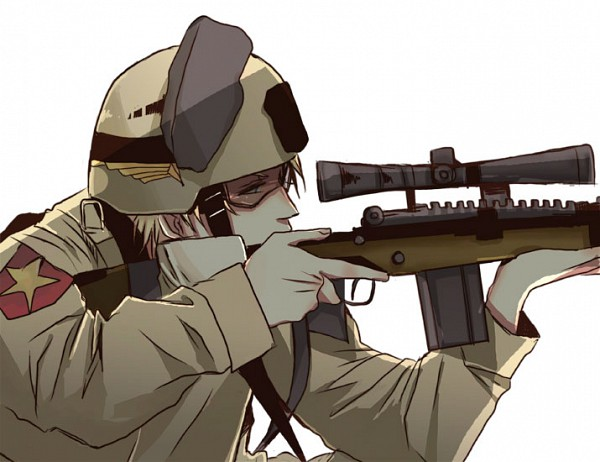 Tags: Anime, Pixiv Id 604370, Axis Powers: Hetalia, United States, Shooting, Sniper Rifle, Fanart, Pixiv, Fanart From Pixiv, Allied Forces