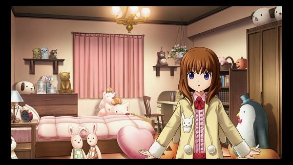 Tags: Anime, Ekusa Takahito, 07th Expansion, Alchemist (Studio), Umineko no Naku Koro ni, Ushiromiya Maria, Stuffed Pig, Stuffed Dog, Stuffed Penguin, Wallpaper, CG Art, Umineko no Naku Koro ni ~ Majo to Suiri no Rondo ~