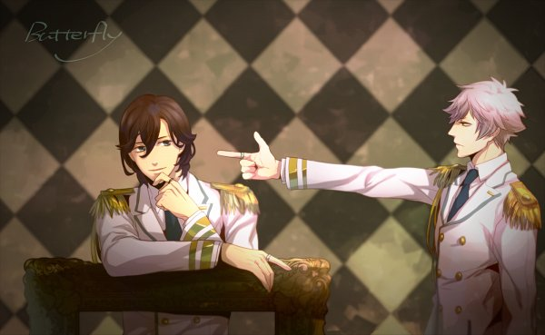 Tags: Anime, Pixiv Id 326697, Uta no☆prince-sama♪, Kurosaki Ranmaru, Kotobuki Reiji, Gun Gesture, Princes Of Song