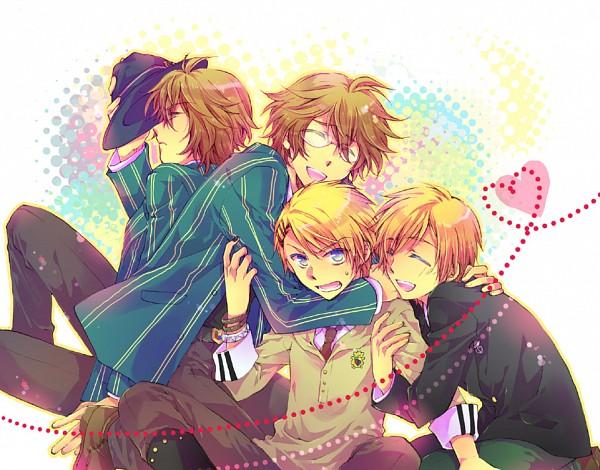 Tags: Anime, Pixiv Id 1275321, BROCCOLI, Uta no☆prince-sama♪, Shinomiya Natsuki, Kurusu Kaoru, Kurusu Syo, Hugging Arm, Hug Neck, Group Hug, Fanart, Pixiv, Princes Of Song