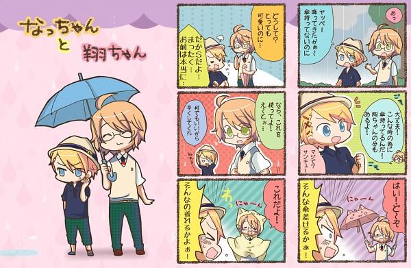 Tags: Anime, Aine Sati, BROCCOLI, Uta no☆prince-sama♪, Kurusu Syo, Shinomiya Natsuki, Rain Coat, Pixiv, Fanart, Princes Of Song