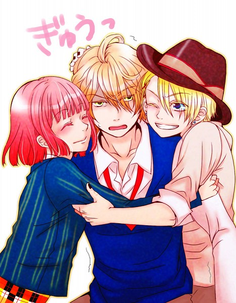 Tags: Anime, BROCCOLI, Uta no☆prince-sama♪, Nanami Haruka, Kurusu Syo, Shinomiya Natsuki, Group Hug, Princes Of Song