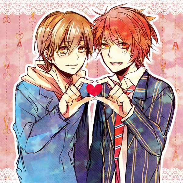Tags: Anime, Yusshi (Pixiv4978659), BROCCOLI, DURARARA!!, Uta no☆prince-sama♪, Ittoki Otoya, Kida Masaomi, Heart Gesture Duo, Pixiv, Fanart, Princes Of Song