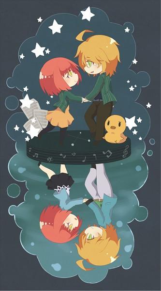 Tags: Anime, Pixiv Id 340808, BROCCOLI, Uta no☆prince-sama♪, Nanami Haruka, Shinomiya Natsuki, Constellation, Different Reflection, Sheet Music, Mobile Wallpaper, Fanart, Pixiv, Princes Of Song