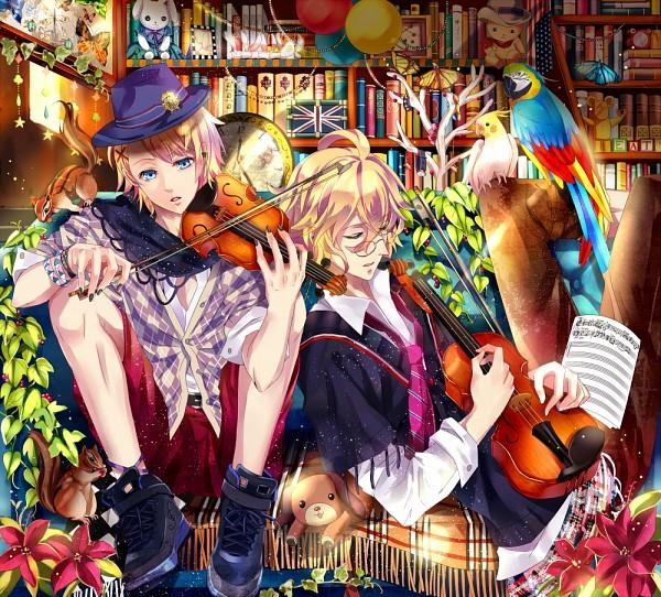 Tags: Anime, Yuna (Rutera), BROCCOLI, Uta no☆prince-sama♪, Kurusu Syo, Shinomiya Natsuki, Parrot, Stuffed Dog, Cockatiel, Princes Of Song