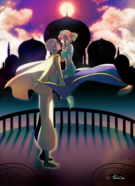 Tags: Anime, Nae (Amahana), Seshi (Pixiv55942), Aladdin, Uta no☆prince-sama♪, Nanami Haruka, Aijima Cecil, Jasmine (Aladdin) (Cosplay), Balcony, Flying Carpet, Aladdin (Character) (Cosplay), Rug, Caressing, Princes Of Song
