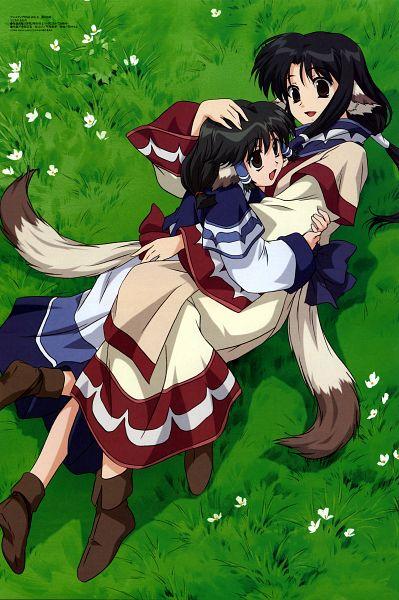 Tags: Anime, Nakata Masahiko, Oriental Light and Magic, Utawarerumono, Aruruu (Utawarerumono), Eruruu (Utawarerumono), Ainu Clothes, Laying on Grass, Official Art, Mobile Wallpaper, Scan
