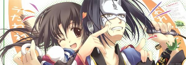 Tags: Anime, Tenmu Shinryuusai, Utawarerumono, Eruruu (Utawarerumono), Hakuoro (Utawarerumono), Twitter Header, Stick Poster, Scan