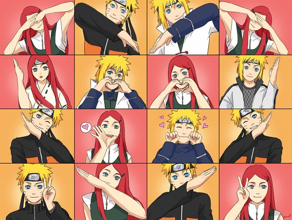 Tags: Anime, Pixiv Id 3525069, NARUTO, Namikaze Minato, Uzumaki Kushina, Uzumaki Naruto, Heart Gesture Duo, Fanart From Pixiv, Hātotoresu, Fanart, Pixiv, Uzumaki Family