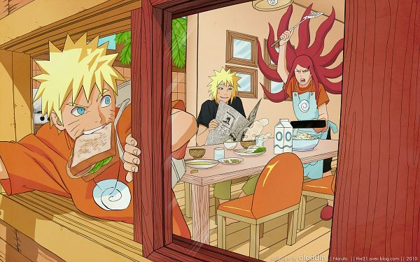 Tags: Anime, Kishimoto Masashi, NARUTO, Uzumaki Kushina, Namikaze Minato, Uzumaki Naruto, Sandwich, Newspaper, Kitchen, 2560x1600 Wallpaper, Bijuu Mode, HD Wallpaper, Wallpaper
