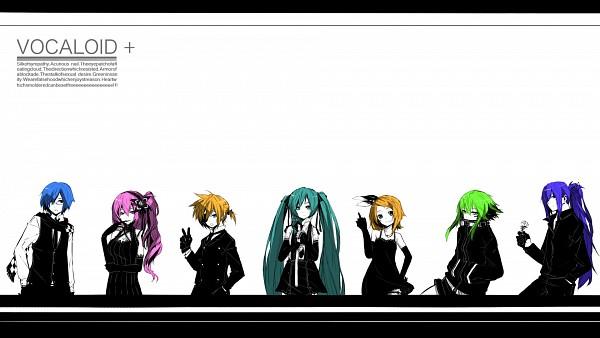 Tags: Anime, Tokiti, VOCALOID, Kamui Gakupo, Megurine Luka, KAITO, Hatsune Miku, GUMI, Kagamine Len, Kagamine Rin, Goggles Around Neck, Writing Error, Wallpaper