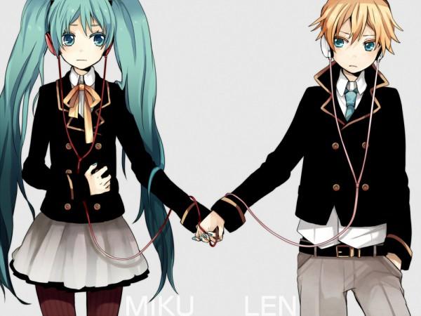 Tags: Anime, Tama Songe, VOCALOID, Hatsune Miku, Kagamine Len, 1000x750 Wallpaper, Hand on Stomach, Fanart, Pixiv, LenMiku