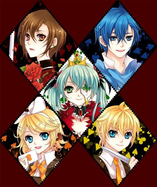 Tags: Anime, MonicA (Artist), VOCALOID, MEIKO (VOCALOID), KAITO, Hatsune Miku, Kagamine Len, Kagamine Rin, Spade (Card), Hitobashira Alice