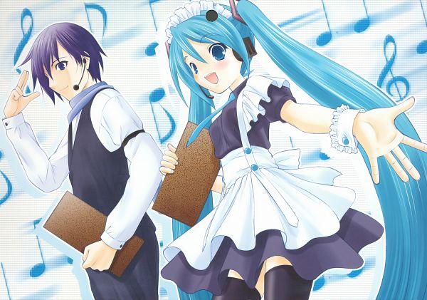 Tags: Anime, Takeshita Kenjirou, VOCALOID, Hatsune Miku, KAITO, Menu, Scan, Fanart