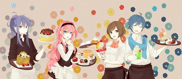 Tags: Anime, Eke, VOCALOID, MEIKO (VOCALOID), Megurine Luka, KAITO, Kamui Gakupo, Soda, Pudding, Raspberries, Pancakes, Facebook Cover, Pixiv