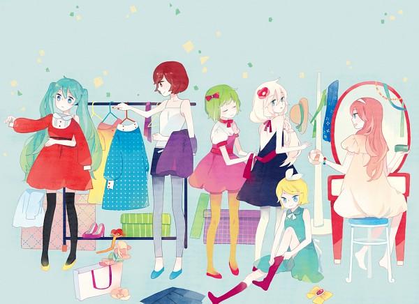 Tags: Anime, Kyang692, VOCALOID, GUMI, Hatsune Miku, IA, MEIKO (VOCALOID), Megurine Luka, Kagamine Rin, Shopping Bag, Paper Bag