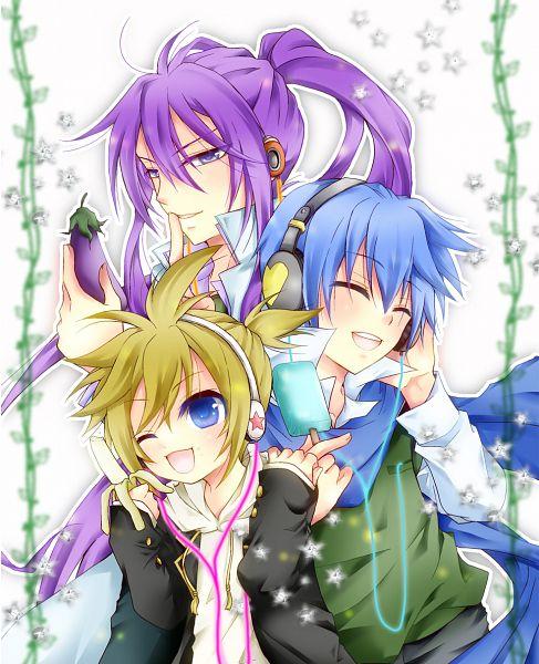 Tags: Anime, Pixiv Id 2219276, VOCALOID, Kamui Gakupo, KAITO, Kagamine Len, Banana, Eggplant, Pixiv, Fanart