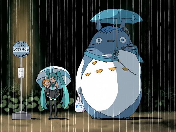 Tags: Anime, Shirosato, VOCALOID, KAITO, Kagamine Rin, Totoro, Hatsune Miku, Totoro (Cosplay), Plastic Bag, Tonari no Totoro (Parody), Character Fusion