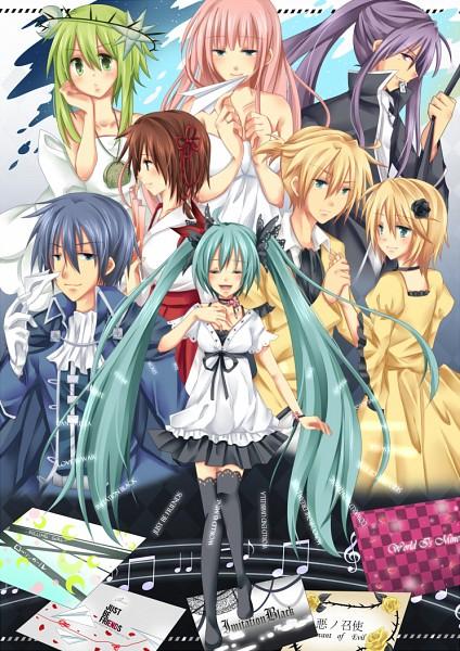 Tags: Anime, Vocaloidhaine (Artist), Project DIVA F 2nd, VOCALOID, Kagamine Len, Kamui Gakupo, Kagamine Rin, MEIKO (VOCALOID), Megurine Luka, Hatsune Miku, GUMI, KAITO, Paper Airplane