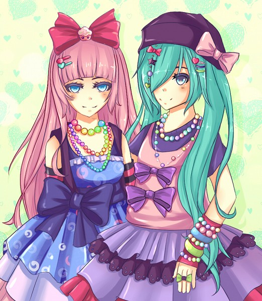 Tags: Anime, Purple Tao, VOCALOID, Hatsune Miku, Megurine Luka, Striped Gloves, Swirls, deviantART