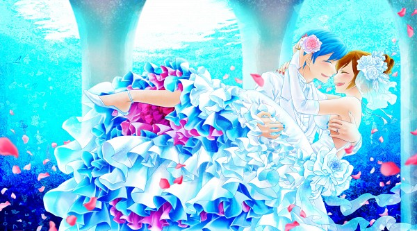 Tags: Anime, Daico, VOCALOID, MEIKO (VOCALOID), KAITO, Aquarium, Facebook Cover, Wallpaper, Pixiv