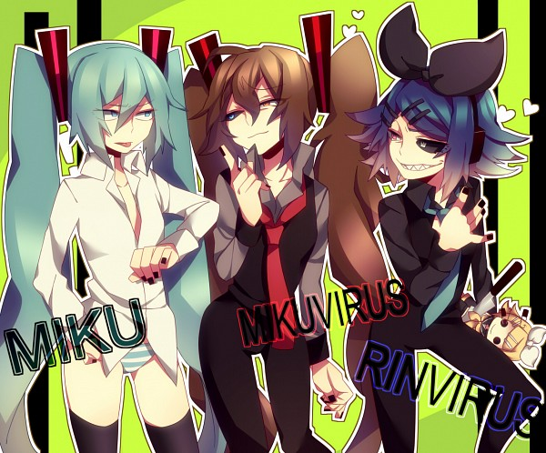 Tags: Anime, Oniyama Mizuki, VOCALOID, Kagamine Rin, Rin Virus, Hatsune Miku, Miku Virus, No Pants, Pixiv