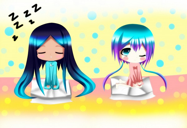 Tags: Anime, Pixiv Id 2924401, VOCALOID, Merli, Aoki Lapis, Zzz, Sleeping Upright, Teal Outfit, Pixiv