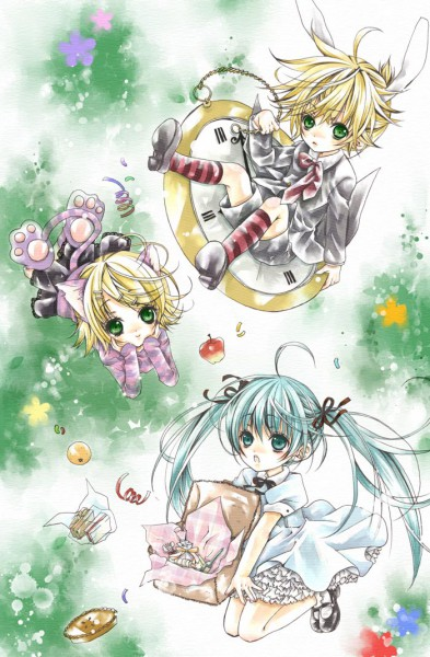 Tags: Anime, Alice in Wonderland, VOCALOID, Hatsune Miku, Kagamine Len, Kagamine Rin, Mobile Wallpaper