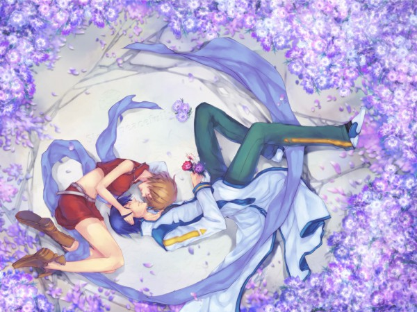 Tags: Anime, Smi, VOCALOID, MEIKO (VOCALOID), KAITO, Yin Yang Arrangement, Wallpaper