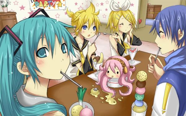 Tags: Anime, VOCALOID, Takoluka, Hatsune Miku, KAITO, Kagamine Len, Kagamine Rin, Parfait, Artist Request