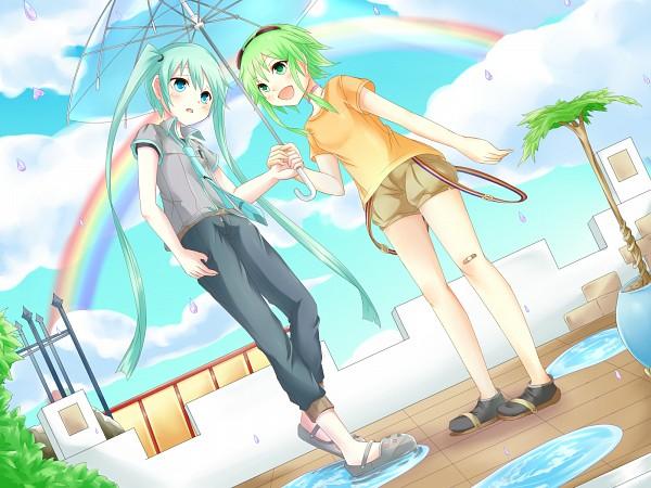 Tags: Anime, Sakakidani, VOCALOID, Hatsune Miku, GUMI, Transparent Object, See Through Umbrella, Wallpaper