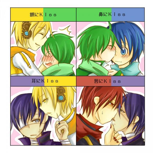 Tags: Anime, VOCALOID, AKAITO, KAITO, KIKAITO, NIGAITO, TAITO (VOCALOID), Kiss Chart, Artist Request, Yandereloid