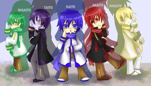 Tags: Anime, YS (Artist), VOCALOID, AKAITO, KAITO, KIKAITO, NIGAITO, TAITO (VOCALOID), Pixiv, Yandereloid