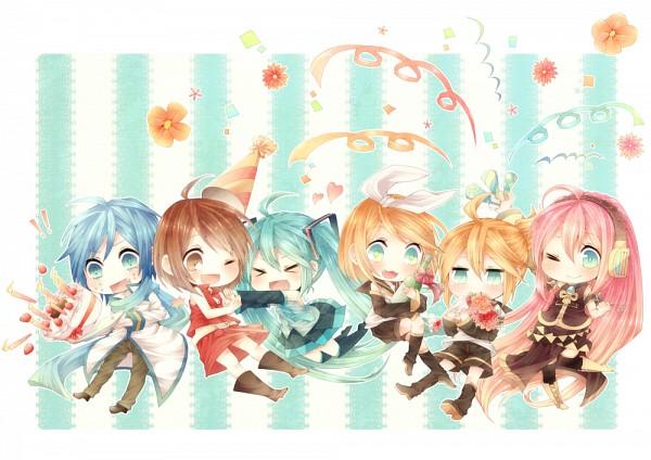 Tags: Anime, Niwako, VOCALOID, Kagamine Rin, MEIKO (VOCALOID), Megurine Luka, Hatsune Miku, KAITO, Kagamine Len, Pushing, Pounce, Party Hat, Pixiv
