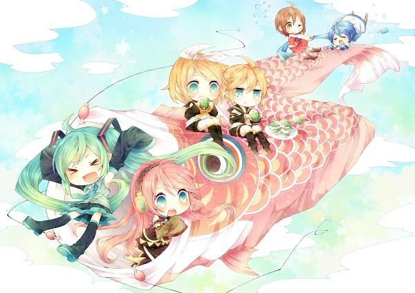 Tags: Anime, Niwako, VOCALOID, KAITO, Kagamine Len, Kagamine Rin, MEIKO (VOCALOID), Megurine Luka, Hatsune Miku, Koinobori, Meat, Pixiv