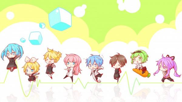 Tags: Anime, Omu, VOCALOID, Kamui Gakupo, Kagamine Rin, MEIKO (VOCALOID), Megurine Luka, KAITO, Hatsune Miku, GUMI, Kagamine Len, Heartbeat, Wallpaper