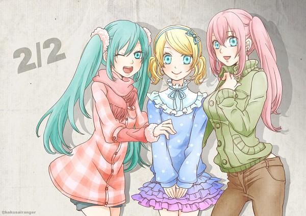 Tags: Anime, Hakusairanger, VOCALOID, Hatsune Miku, Megurine Luka, Kagamine Rin