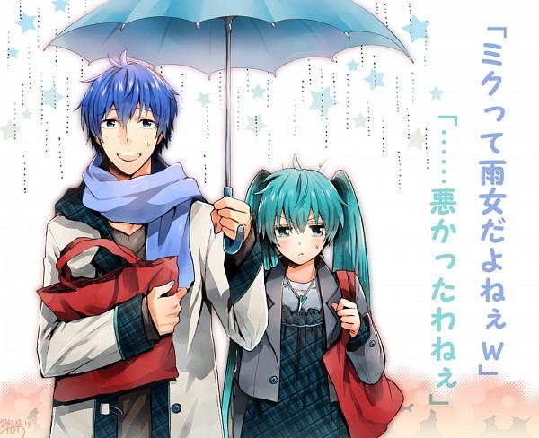 Tags: Anime, Irono Yoita, VOCALOID, KAITO, Hatsune Miku, Ai-Ai Gasa, Melt (Song), Pixiv, KaiMiku